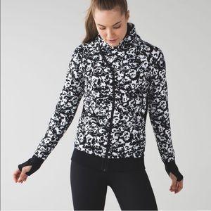 LuLuLemon white & black floral zip-up jacket